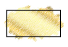 Gold Metall Texture, Black Frame. Golden Color Paint Stroke Isolated White Background. Glitter Stain Design Bright Border, Frame, Happy New Year Banner, Christmas Celebration. Vector Illustration