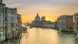 Beautiful Skyline Sunrise in Venice Grand Canal Italy view from Ponte dell'Accademia, view of Basilica di Santa Maria della Salute, Cityscape Venice timelapse footage in 4K. Venice Skyline aerial view
