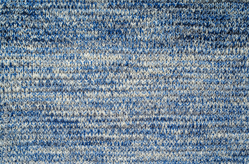 Fototapety, obrazy: Blue Melange Yarn Sweater Texture. Knitted sweater blank background