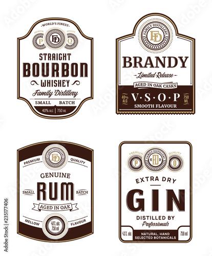 Obraz na płótnie Alcoholic drinks vintage labels