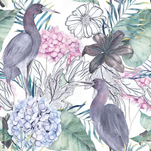 akwarela-bezszwowe-wzor-z-elementami-atramentu-zuraw-ptakow-egzotycznych-i-hortensja-recznie-rysowane-ilustracja-akwarela
