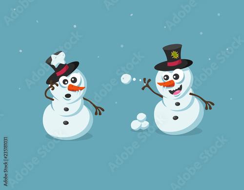 Fotografie, Obraz  Funny illustration of cute snowman figures with snowballs