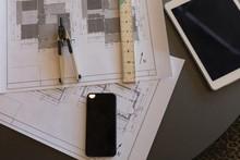 Blueprint, Compass, Mobile Pho...
