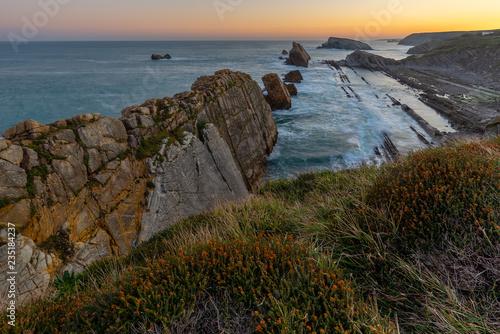 Broken coast (Costa Quebrada) at sunrise, Cantabria, Spain