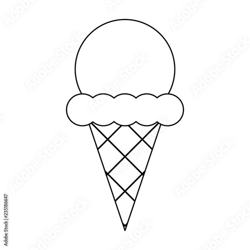 Ice cream cone cartoon in black and white - Buy this stock vector and explore similar vectors at Adobe Stock | Adobe Stock