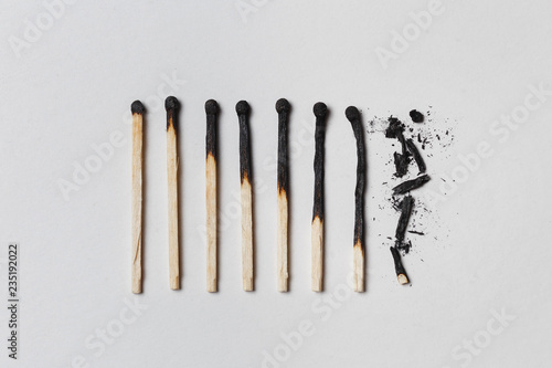 Obraz Concept of patience. A row of burnt matches, from left to right, from almost a whole match to a completely burnt match to the dust. - fototapety do salonu