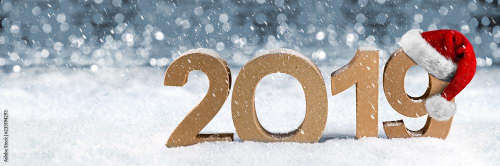 Weihnachten 2019 Schnee.Photo Art Print 2019 Jahreszahl Im Schnee Weihnachten Silvester