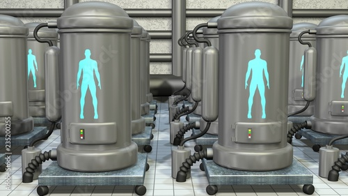 Vászonkép Life support chambers, cryonic tanks containing people. 3d render