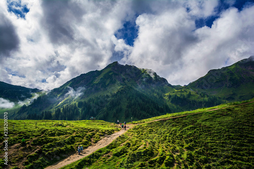 Tuinposter Donkergrijs Beautiful view on the two hours trail to Wildseeloder house and Wildsee lake, historical and nature reserve place in Alps, Henne mountain, Lachfilzkogel, Fieberbrunn, Austria