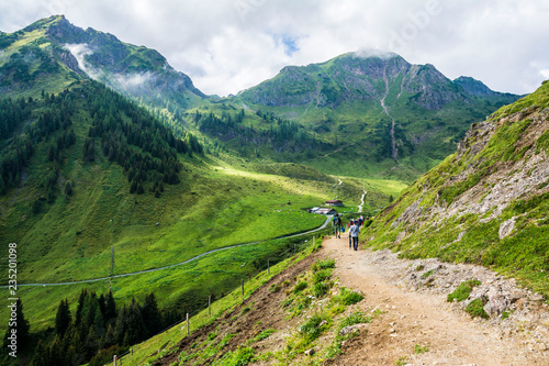 Beautiful view on the two hours trail to Wildseeloder house and Wildsee lake, historical and nature reserve place in Alps, Henne mountain, Lachfilzkogel, Fieberbrunn, Austria