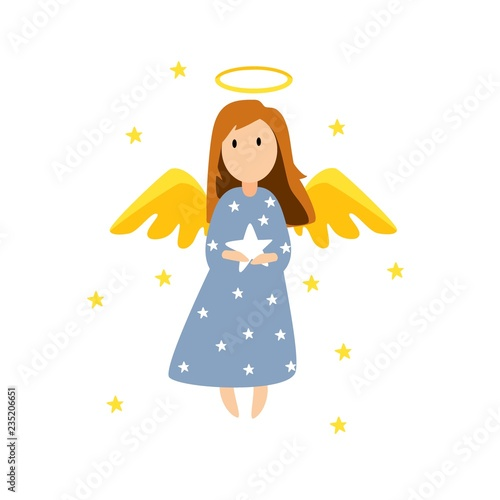 Canvas Print Christmas cute angel. Christmas card