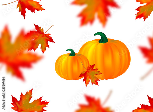 Seamless Pattern Bright Orange Red Blurred Falling Maple