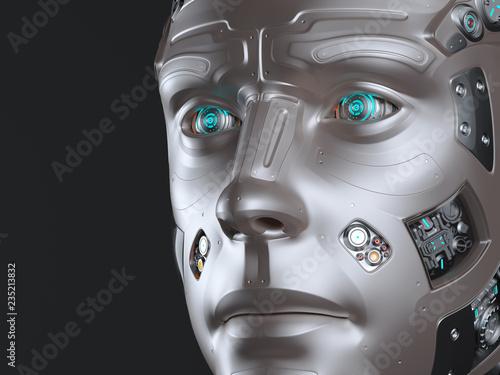 Futuristic robot head or cyborg face Canvas Print