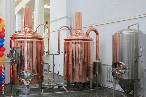 Photo Copper tuns for brewing at brewery