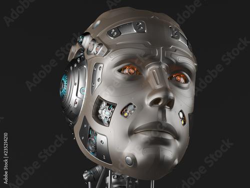 Fotografia, Obraz  Futuristic robot head or cyborg face