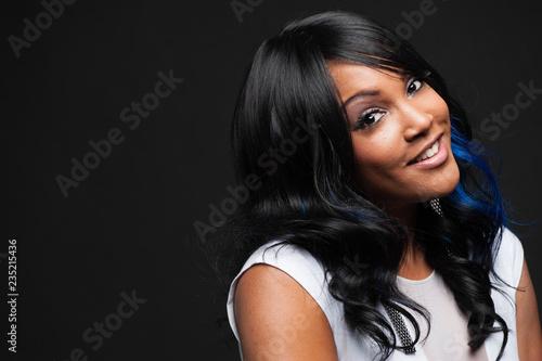 Fényképezés  Young African-American Woman with long hair