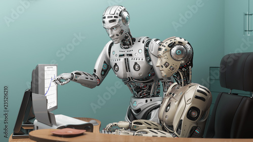 Fotografia, Obraz  Robot getting advice from office colleague at his desk