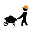 worker with wheelbarrow silhouette