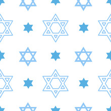 Vector Seamless Pattern With The Star Of David. Background For The Design Of Posters, Cards, Flyers, For The Holiday Of Sukkot