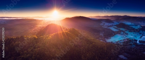 Wall Murals Beautiful morning Sunrise over Bieszczady Mountains in Poland. Aerial panoramic landscape.