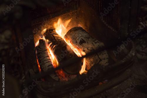 Obraz na płótnie firewood in the fireplace