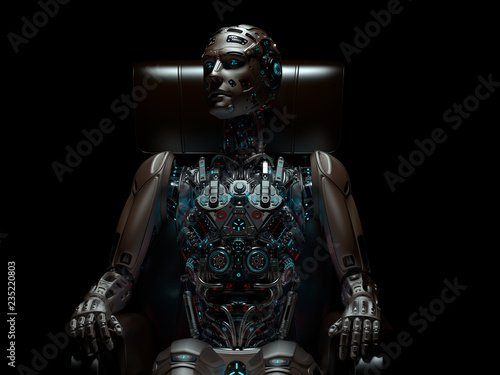 Very detailed futuristic robot or android cyborg sitting on a chair in the darkness Wallpaper Mural