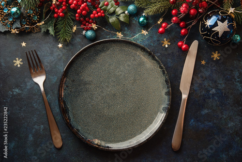 Fotomural Christmas dinner plate