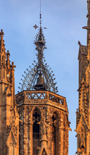 Gothic Filigree Ironwork Detail Of The Bell Tower Of Cathedral Of The Holy Cross And Saint Eulalia, Or Barcelona Cathedral At Sunset In Barcelona, Spain