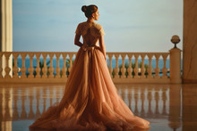 Beautiful Woman In Luxurious Ballroom Dress With Tulle Skirt And Lacy Top Standing On The Large Balcony With Sea View. Back View