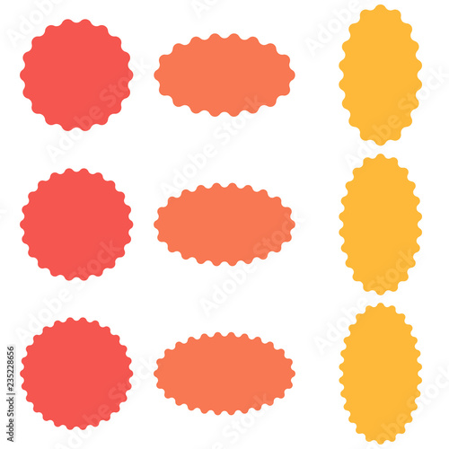 Fototapeta Circle and oval badge sticker, starburst speech bubbles, vector sticker wavy edges, badge template obraz
