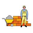 builder character brick wall and wheelbarrow