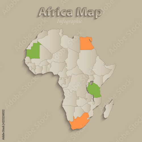 Fotografie, Obraz  Africa map with individual states separated, infographics with icons vector