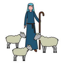 Shepherd With Flock Sheep Char...