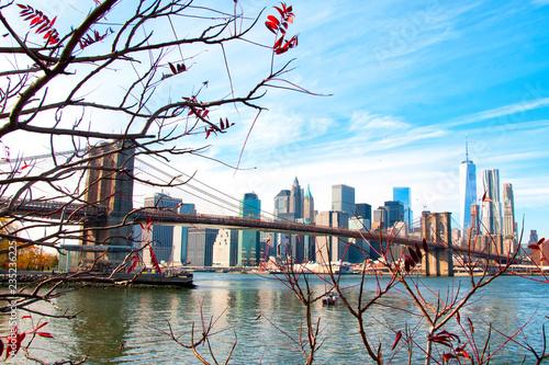 Tuinposter New York City Brooklyn Bridge and Freedom Tower, New York City