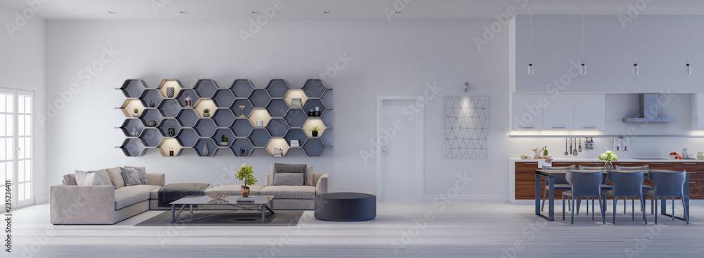 Fototapety, obrazy: Modern Living room with kitchen, interior design 3D Render 3D illustration