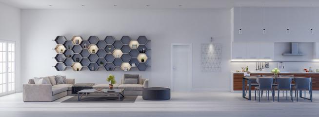 Modern Living room with kitchen, interior design 3D Render 3D illustration