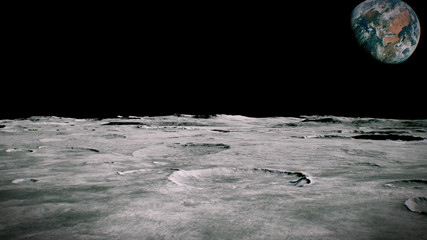 Surface of the Moon landscape. Flying over the Moon surface. Close up view. 3D Rendering