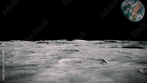 Surface of the Moon landscape. Flying over the Moon surface. Close up view. 3D Rendering - 235236801