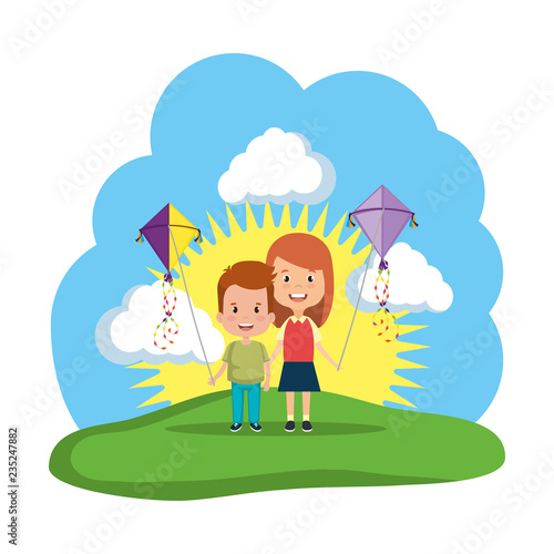 kids couple with kite flying in the field Wallpaper Mural
