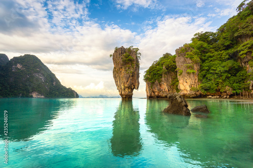 Fotobehang Eiland James Bond island, Phuket Thailand nature. Asia travel photography of James Bond island in Phang Nga bay. Thai scenic exotic landscape of tourist destination famous place.