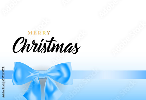 Fototapety, obrazy: Merry Christmas lettering with blue ribbon bow. Christmas greeting card or cover design. Handwritten text, calligraphy. For leaflets, brochures, invitations, posters or banners.