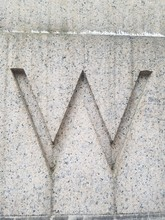 Texture Of Stone Wall Letter W