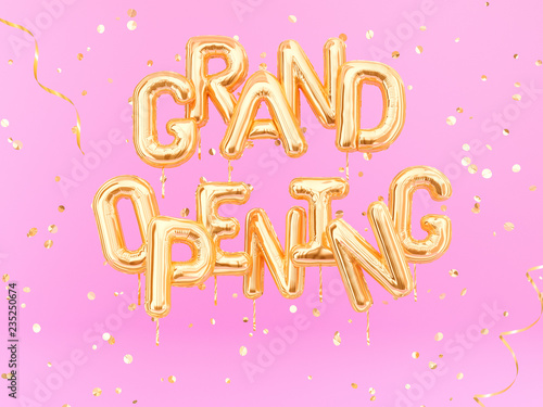Fotografia Grand Opening phrase sign letters with golden confetti