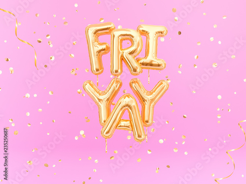 Fotomural FriYay text sign letters with golden confetti