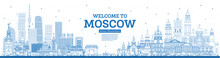 Outline Welcome To Moscow Russia Skyline With Blue Buildings.