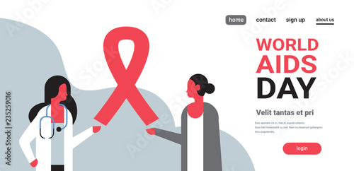 Photo World AIDS day awareness red ribbon sign female doctor woman consultation preven