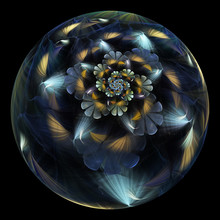 Beautiful Exotic Flower In Crystal Sphere. Fantasy Grey And Yellow Fractal Design. Psychedelic Digital Art. 3D Rendering.