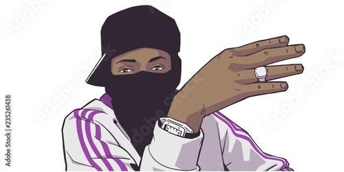 Canvas Print Illustration of young black London gang member