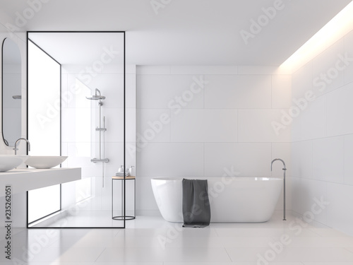 Minimal style white bathroom 3d render, There are large white tile wall and floor Fototapeta