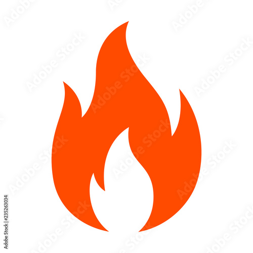 Red hot fire / flame heat or spicy food symbol flat vector icon for apps and web Wallpaper Mural